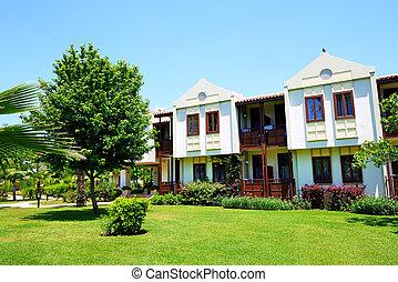 Building of the luxury hotel on Turkish resort, Fethiye,...