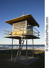 Building on beach. - Lifeguard shack on beach on Surfers...