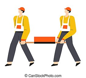 Building or construction works, builders in hardhats carrying bricks on stretcher
