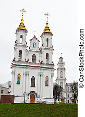 Building orthodox cathedral in central part of Vitebsk
