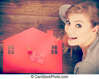 Young lady on floor with home.