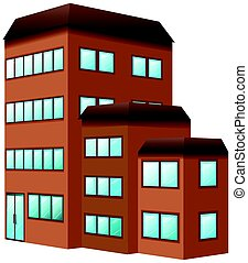 Building painted in brown color illustration
