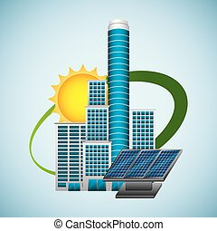 building panel solar environment -energy clean