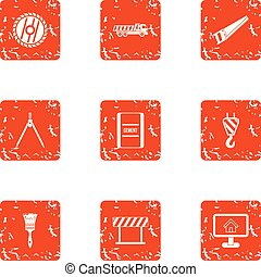 Building partition icons set, grunge style - Building...