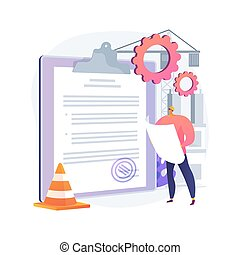 Building permit abstract concept vector illustration. Official approval, contractor service, property remodeling project, house blueprint, application form, real estate business abstract metaphor.