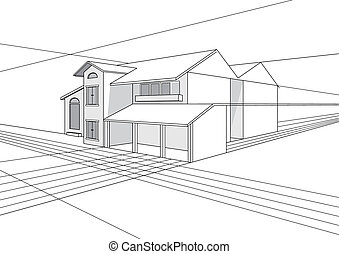 Building Plan Design - Vector outline stroke file of...