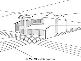 Building Plan Design - Vector outline stroke file of...