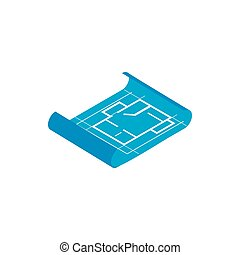 Building plan icon, isometric 3d style