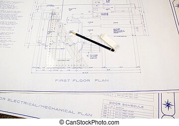 Building plans construction blueprint paper rolled up stock building plans malvernweather Gallery