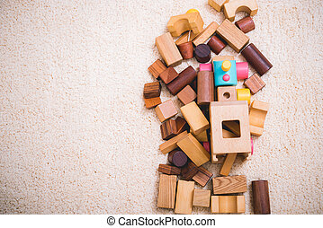 Building playing toy blocks wood for baby education