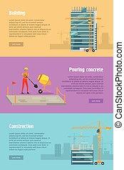 Building. Pouring Concrete. Construction. Vector