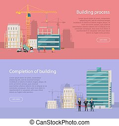 Building Process. Completion of Building. Vector - Building...