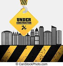 building process hang crane sign under construction