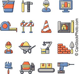Building process icons set, cartoon style