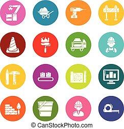 Building process icons set colorful circles vector