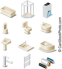 Building products. - Set of the icons representing building...