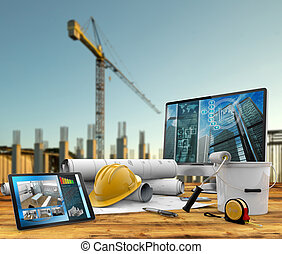 building project - working tools of the builder in a...