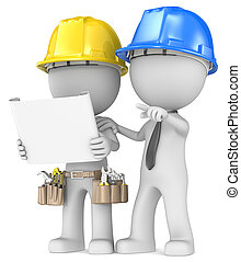 Dude the Builder with contractor looking at blueprint.