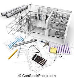 Architecture model on top of a table with mortgage application form, calculator, blueprints, etc..
