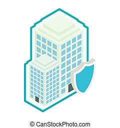 Building protect by shield icon, isometric 3d