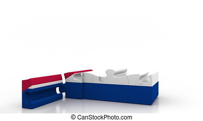 Building puzzle house featuring flag of Cuba. Cuban...