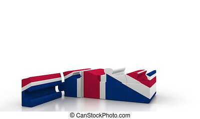 Building puzzle house featuring flag of Great Britain....