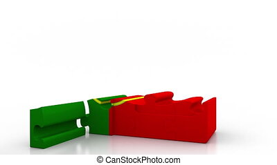 Building puzzle house featuring flag of Portugal. Portuguese...
