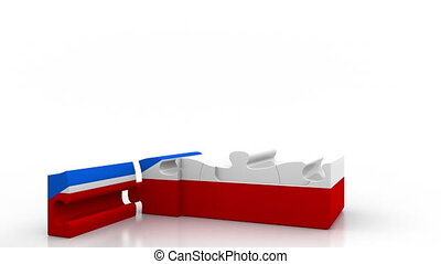 Building puzzle house featuring flag of Puerto Rico....