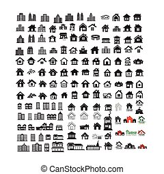 Building Real estate Home icons set Illustration design
