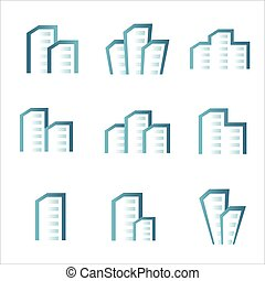 Building Real Estate icons logo set
