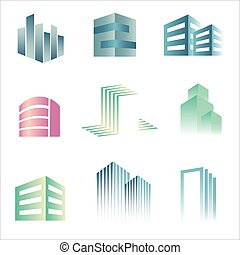 Building Real Estate icons logo vector set