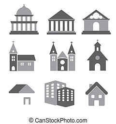 Building real state icons vector set