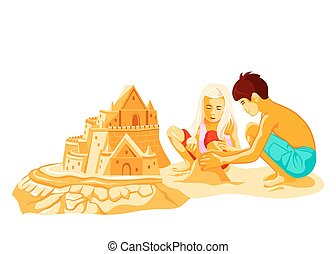 Building sand castle - Boy and girl building big sand castle...