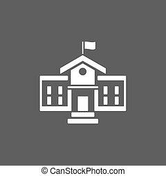 Building school icon on a dark background