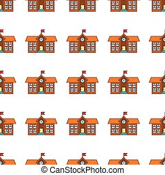 Building school seamless pattern in cartoon style isolated on white background vector illustration