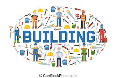 Building service tools banner vector illustration. Home ...