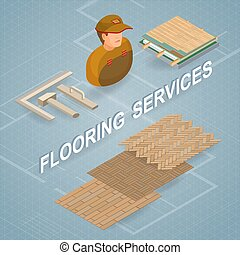Building services. Isometric concept. Worker, equipment.