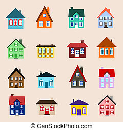 Building set - House set - colourful home icon collection. ...