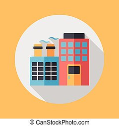 Building shop store flat icon with