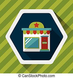 Building shop store flat icon with long shadow, eps10