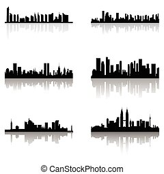 Building silhouettes - abstract building silhouettes with...