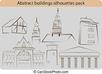 Vector pack of various abstract building silhouettes