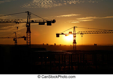 Building site 6 - A building site at sunset