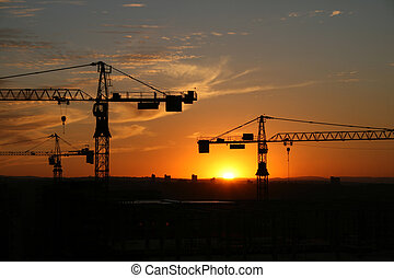 Building site 7 - A building site at sunset