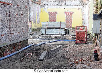 Building site after partial demolition
