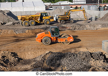 Building site - A building site with trucks and excavators