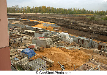 Building site. - Top view of a construction site in the ...