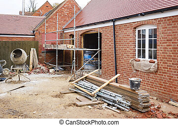 Building site UK - Building site in UK with brick house ...