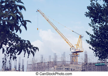 Building site with a high-rise under construction