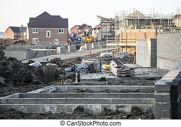 Building site with new homes under construction